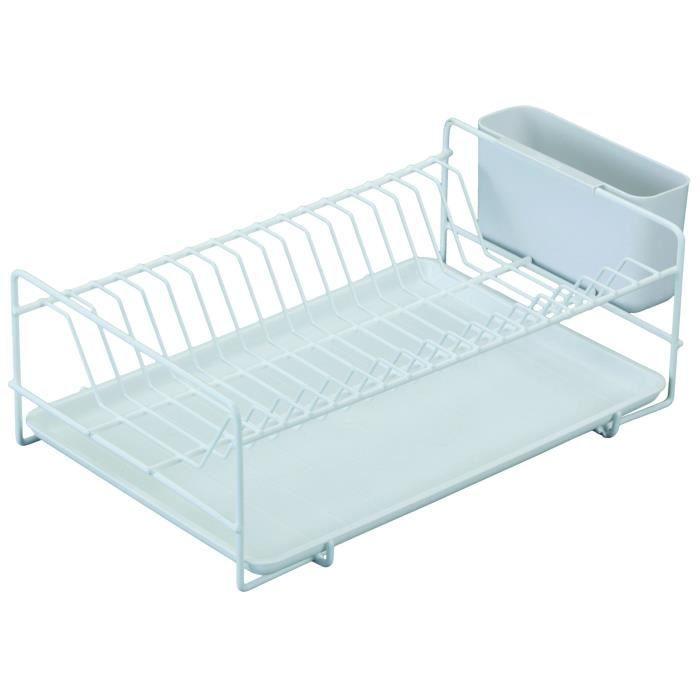 SAUVIC Égouttoir à vaisselle plastifié - Plat - Blanc