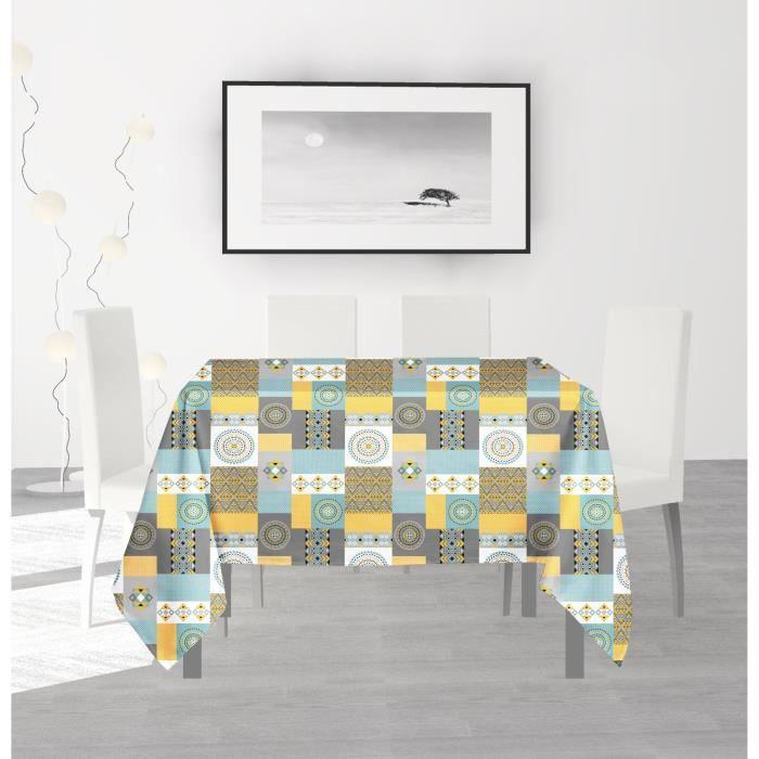SOLEIL D'OCRE Nappe anti-tâches carrée Karo - 180 x 180 cm