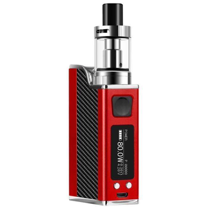 80W E-Cig Mod Box intelligente cigarette électronique contrôle de la température E-cigarette avec 0,91 '' écran LED, rouge