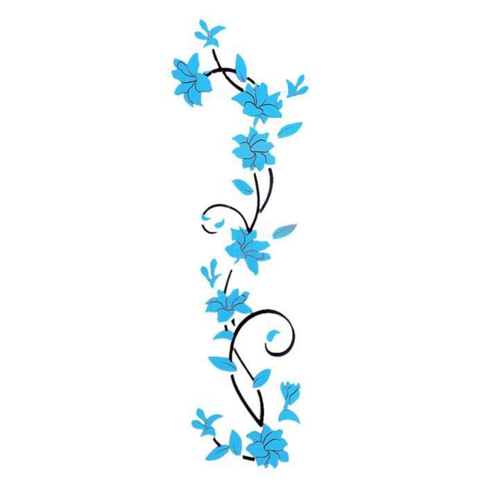 Stickers mural 3d fleur bleu turquoise d cor de la chambre for Decoration maison bleu turquoise