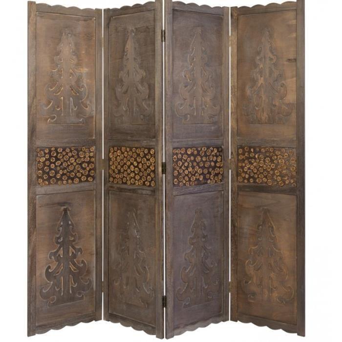 PARAVENT Paravent 4 panneaux marron en bois design PAR06024