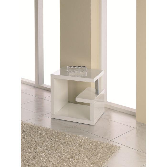 Table d 39 appoint clark en bois laqu blanc achat vente - Petit meuble d appoint design ...