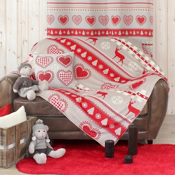 plaid polaire montagne rouge achat vente couverture. Black Bedroom Furniture Sets. Home Design Ideas