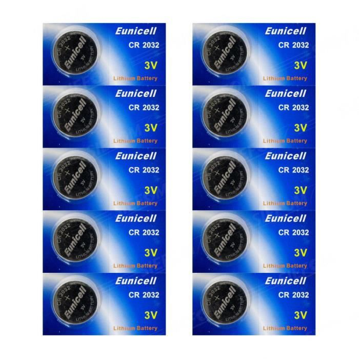 EUNICELL Lot 10 Piles Lithium CR2032 BR2032 DL2032 - Achat   Vente ... fc540a63c1a9