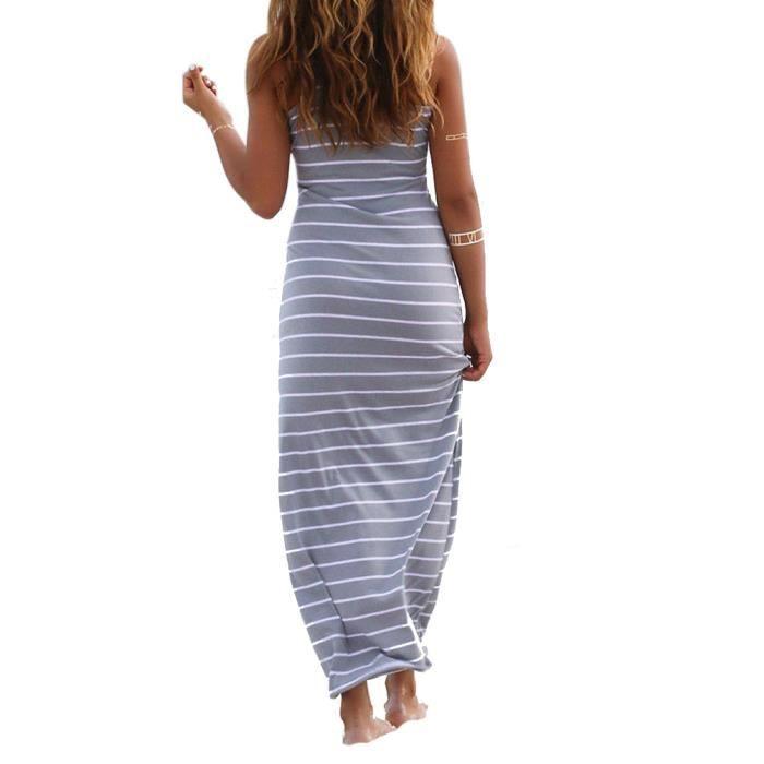 longue Maxi Sans plage Boho manches fête rayé Partie Robes Full Femmes été Dress Ua5wqF