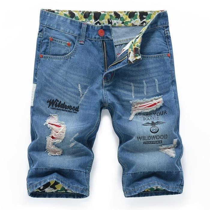 Jeans Homme Multicolor 38 Mode Imprimé Slim Fit courts élastique Distressed  Denim Shorts Déchirent Longueur du genou de loisirs f96d5358c3a5