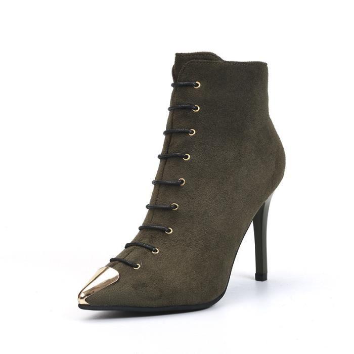 Cuir véritable Martin Bottes automne et en hiver Mode épais talon haut talon, bottes femme bottes cheville,gris,35