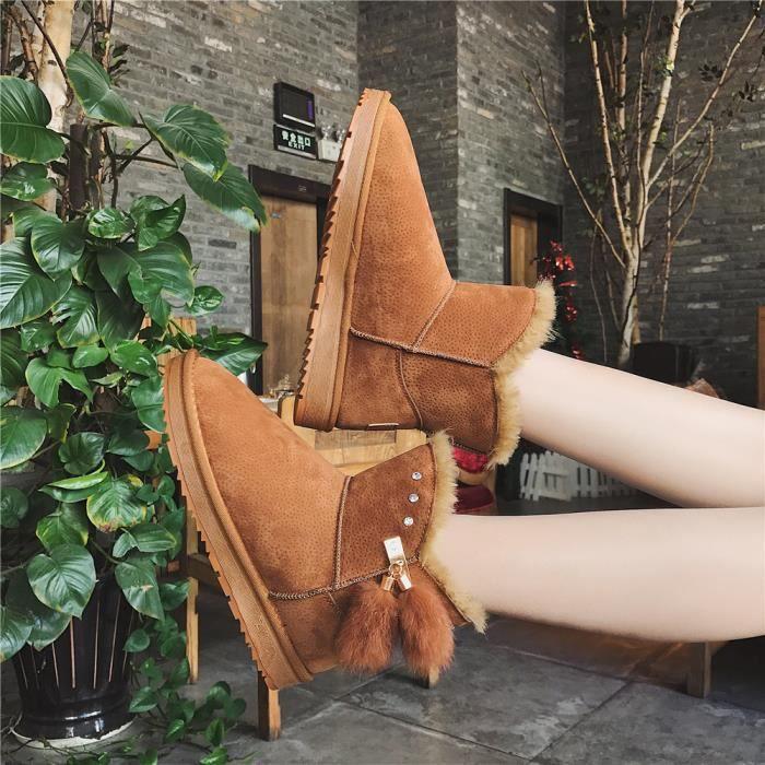 Bottines de neige Femmes Marque De Luxe Mode Hiver Chaud Chaussures de doublure en laine RéSistantes à L'Usure Plus Taille 36-40