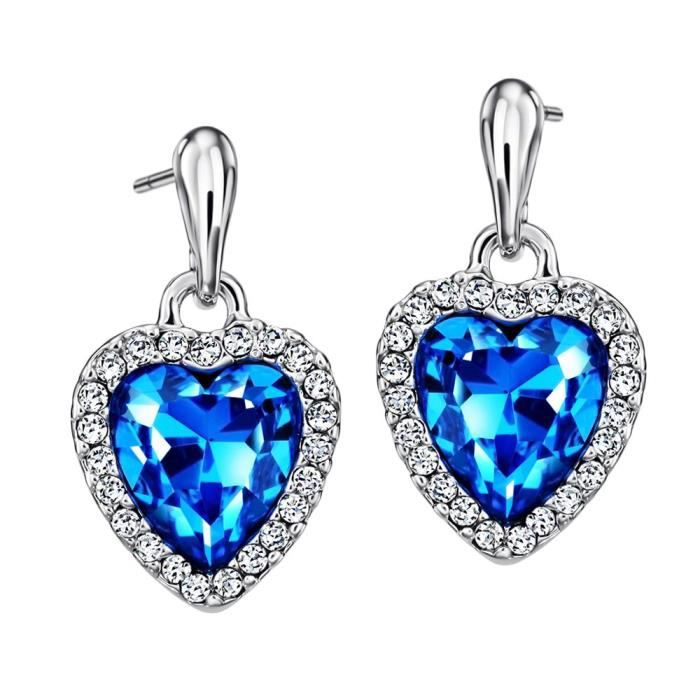 Neoglory Womens Blue Heart Crystal Drop Earrings Rhinestone Platinum Plated Fashion ?valentines Day Gift CY7C2