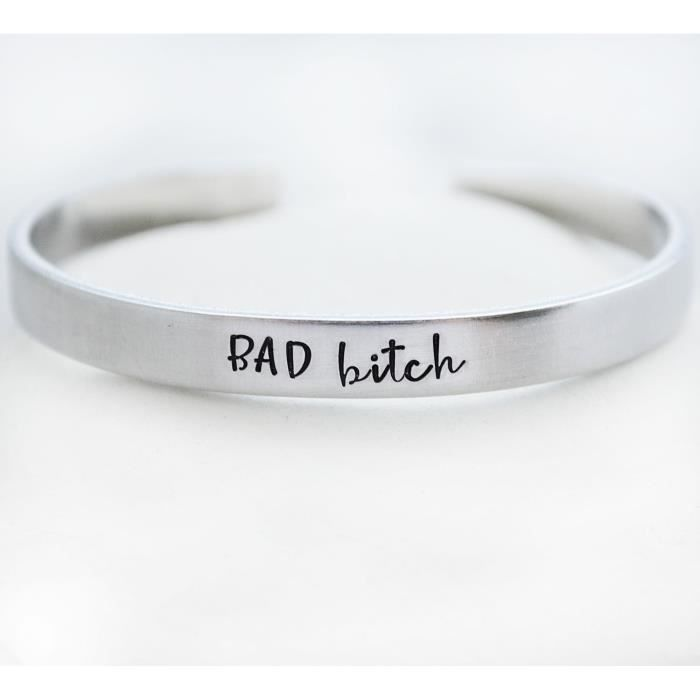 Womens Bad Bitch Hand Stamped Funny Cuff Bracelet Feminist Badass Sarcastic Christmas Gift ForA0W1D