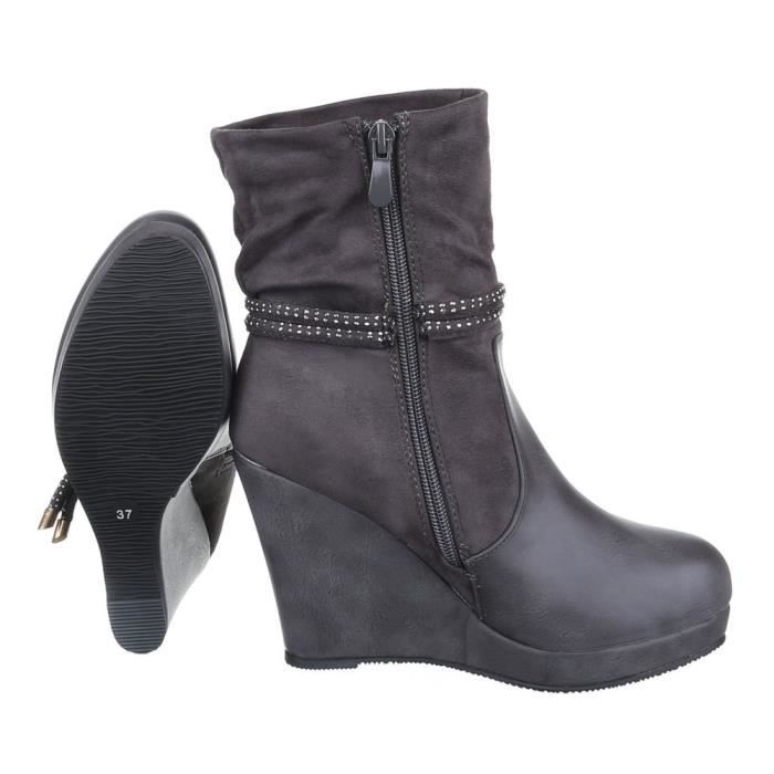 femme Boots bottine chaussure semelle compensée avec Strass