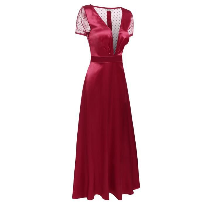 Femmes robe de soirée sexy col-V profond patchwork de maille