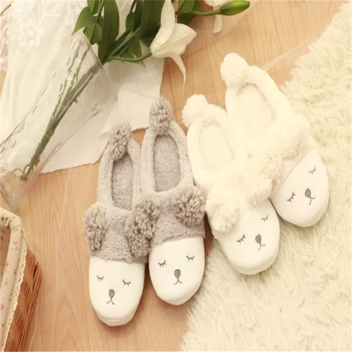 BSMG Chausson Pantoufle Lapin 42 Hiver Peluche Pantoufle Chausson XZ006Blanc Pantoufle w6qHxS0Tnp