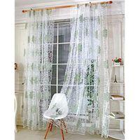 rideau moderne tulle rideaux pour salon vert feuilles she - Rideaux Moderne Pour Salon