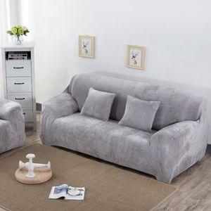 HOUSSE DE CANAPE HTF® Taille M Argent Velu Housse de canapé élastiq