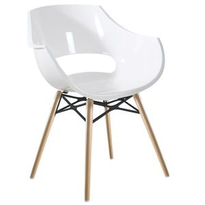 Chaise Blanche OPAL WOX Pieds Bois Naturel