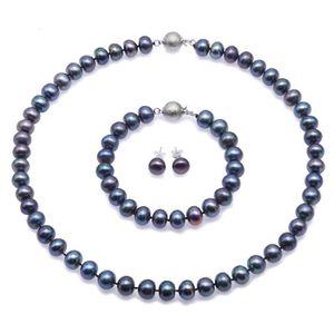 Boucle d'oreille JYX-Collier perles de culture collier Bleu Noir en