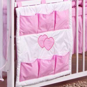 Rangement organiseur poches de lit bébé Rose Coeur Rose - Achat ...
