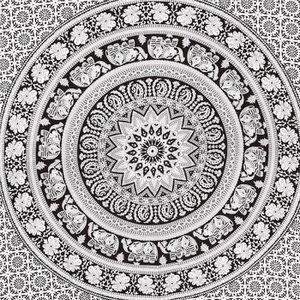 SERVIETTE DE PLAGE Tapisserie double noir et blanc Hippie Elephant Ma
