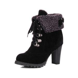 BOTTE Bottes Femme Chaussure Talon Bloc Boots Lacet Pour 877d3b8f060