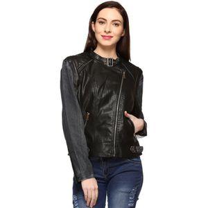 BLOUSON - VESTE Veste en cuir noir pour femme RGXJN Taille-36