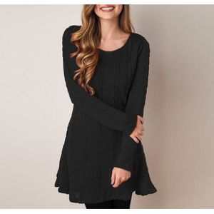 49a1b245b6f ROBE Robe Pull Tricot Femme Automne Hiver Mince Sweater