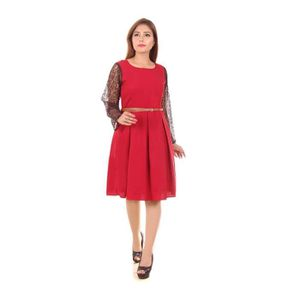 75bf48d718f Women s Heavy American Crepe   Lace Round Neck Western Dress With ...