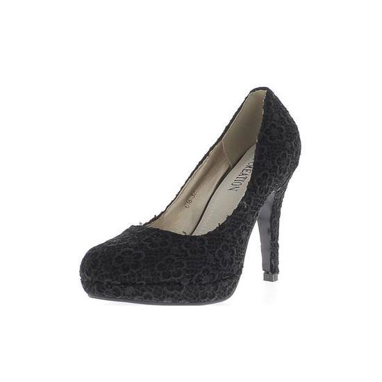 Escarpins noirs dentelle à talons fins de 11cm et mini plateforme  Noir Noir - Achat / Vente escarpin