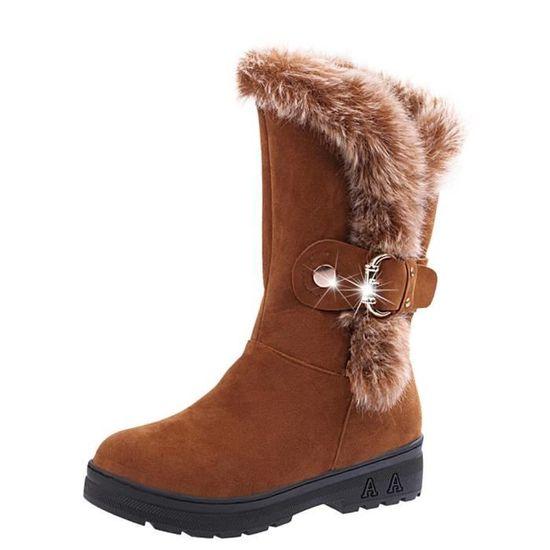 Bottes femme Slip-On doux Bottes de neige bout rond Bottes plates d'hiver de fourrure cheville @Kaki  Kaki - Achat / Vente slip-on