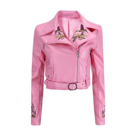 Hiver En Court Outwear Pardessus Parka Veste Rose Zipper Cuir Broderie Manteau Femmes OIAxRwrI