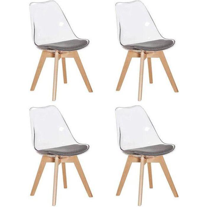 chaise jkk lot de 4 chaises transparente scandinave rtr - Chaise Scandinave Rembourree