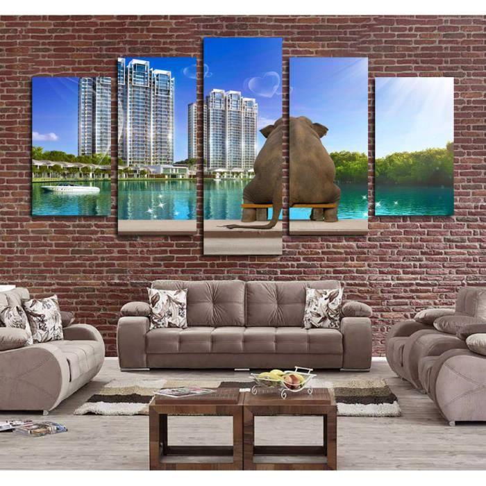 5 panneaux décor à la maison moderne ville toile peinture éléphant ...