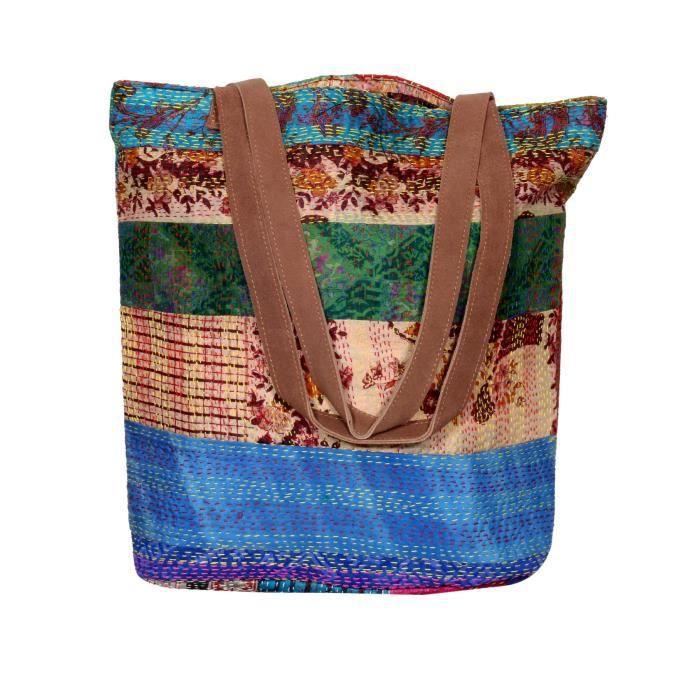 femmes vintage soie kantha travailler en cuir poignée sacs à bandoulière à la main GCLU2