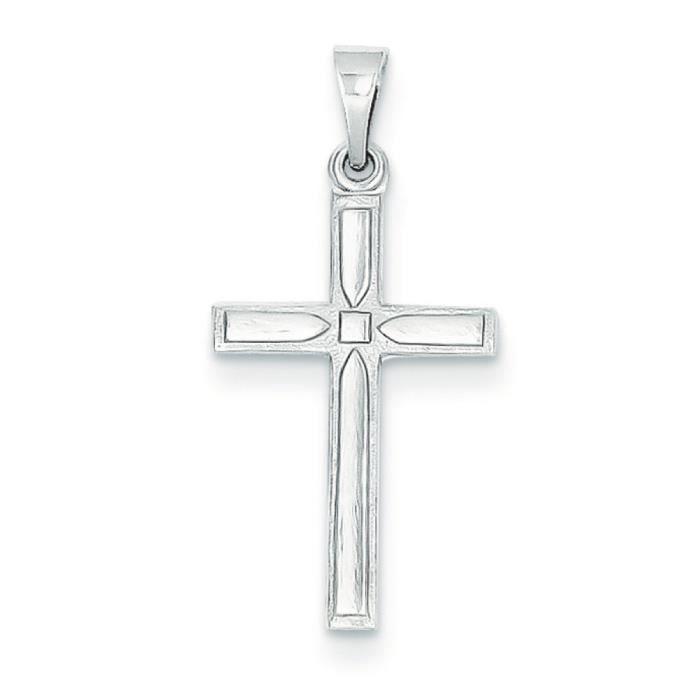 Blanc 14 carats-Charm Croix-Dimensions :19 x 12 mm