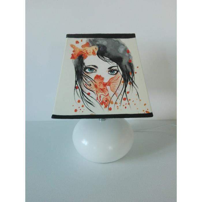 Chevet Creacat Femme Main De Poissons Lampe Peint JTFKcul13