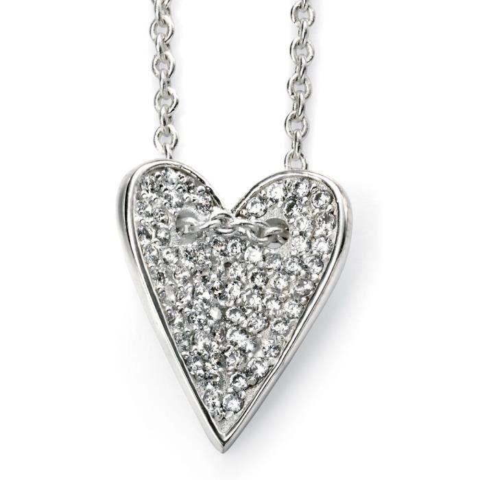 D3917c - Collier coeur tendance zirconium en argent 925/100