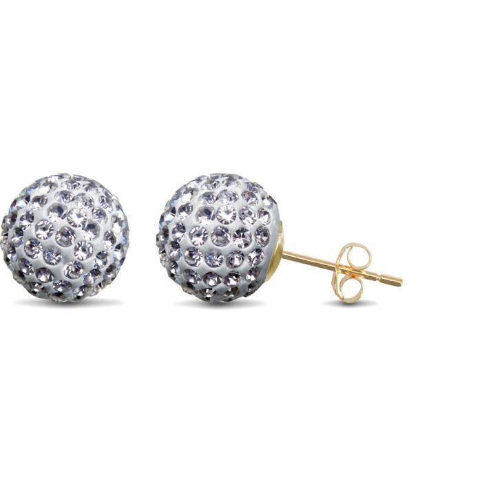 Jewelco London Boucle d'oreilles boules facettes 10mm cristal transparent or 9ct