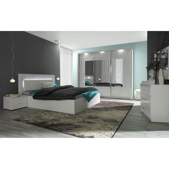 fabulous chambre complte lit led chevets commode panarea blanc laqu with lit laqu blanc brillant. Black Bedroom Furniture Sets. Home Design Ideas