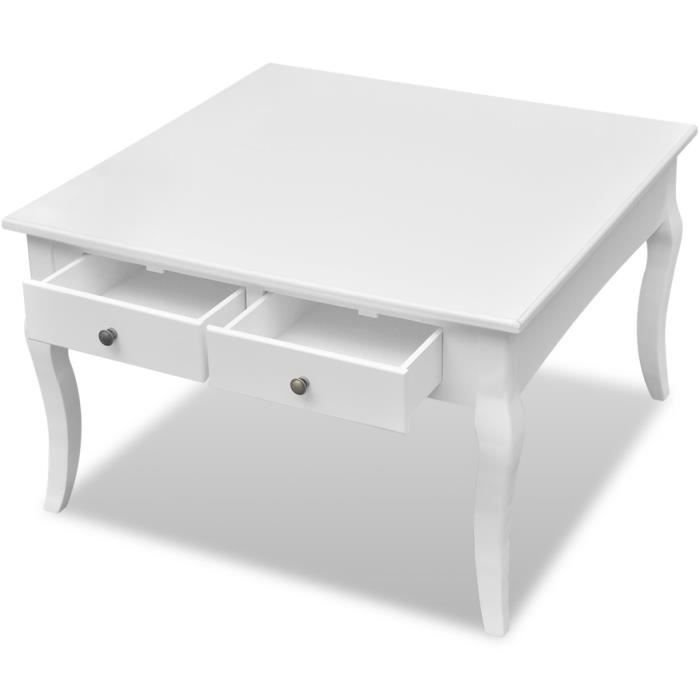 Cdiscount Table Basse Blanche.Table Basse Blanche 2 Tiroirs Achat Vente Table Basse