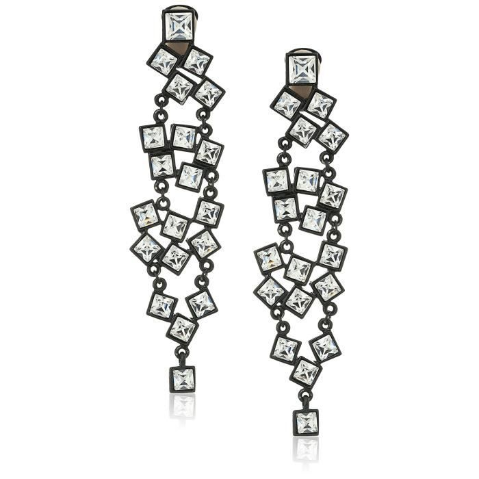 Kenneth Jay Lane Black And Crystal Square Cluster Drop Clip Drop Earring ZYQCH