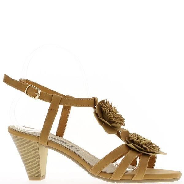 Sandales camel à talons de 7,5cm...