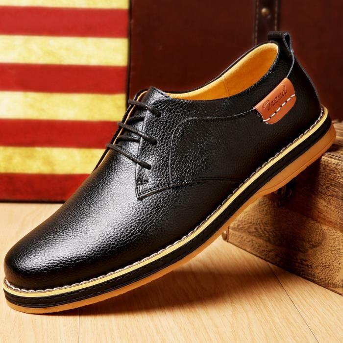 IZTPSERG Richelieu Cuir Chaussure Homme Noir