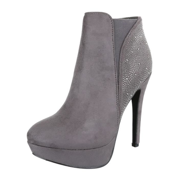 Femme chaussures bottillon High Heels Ankle bottes noir 41 BlcRi9jJ