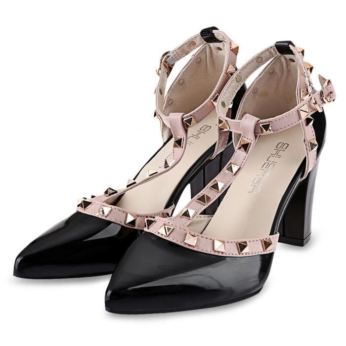 Rivet élégant Embellissement Color Block Ladies Sandales à talons épais vDGk8JQ