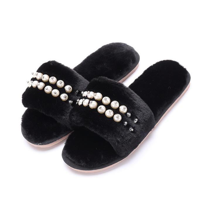 Chaussons Perles Plus De Cachemire Elégant Hiver Chaussure Garde Au Chaud Classique Coton Femme Chausson Haut qualité Doux 35-40