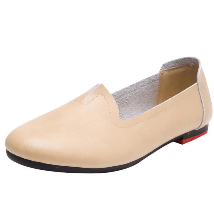 Retro Leather Soft Slipper Loafers Flat Shoes KENEP Taille-40
