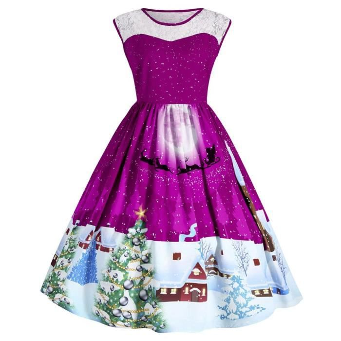 Womens Retro Christmas Decoration Print Costume Vintage Swing Plus Size Lace Panel Dress 2WWMAT Taille-40