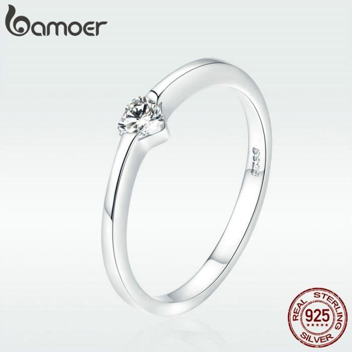 Bamoer Argent 925 Bagues Doigt De Coeur Simples Bagues Mariage Pour Femmes Bijoux Fiançailles Mariage Scr450 6