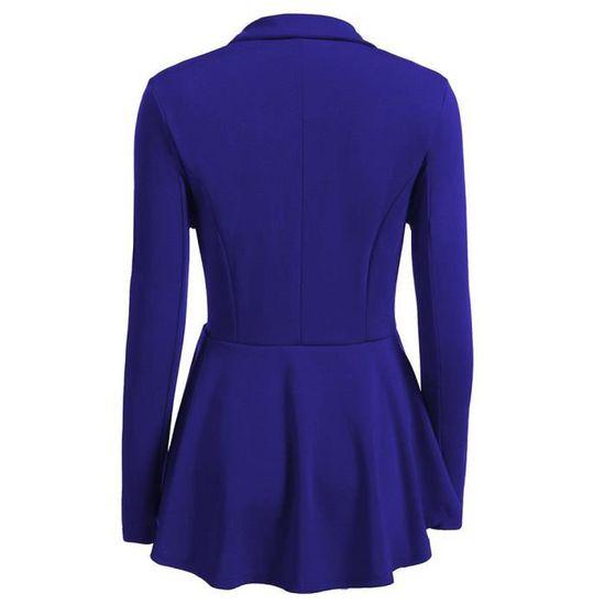 Bleu Blazer Veste Longues Bouton Xxl81024494bu Élégant Féminine Ol Mode Manches Style À Slim BxPS0nHqw