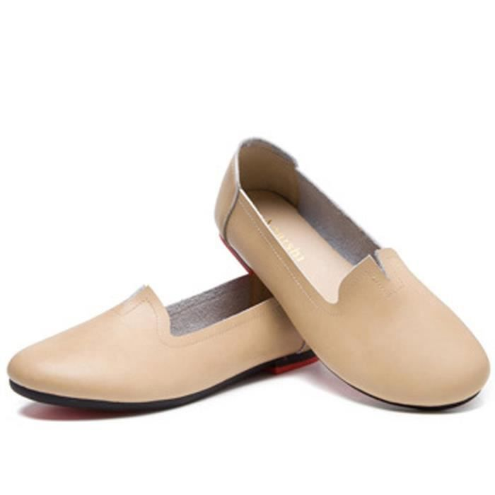 Retro Leather Soft Slipper Loafers Flat Shoes KENEP Taille-40 cmdBO